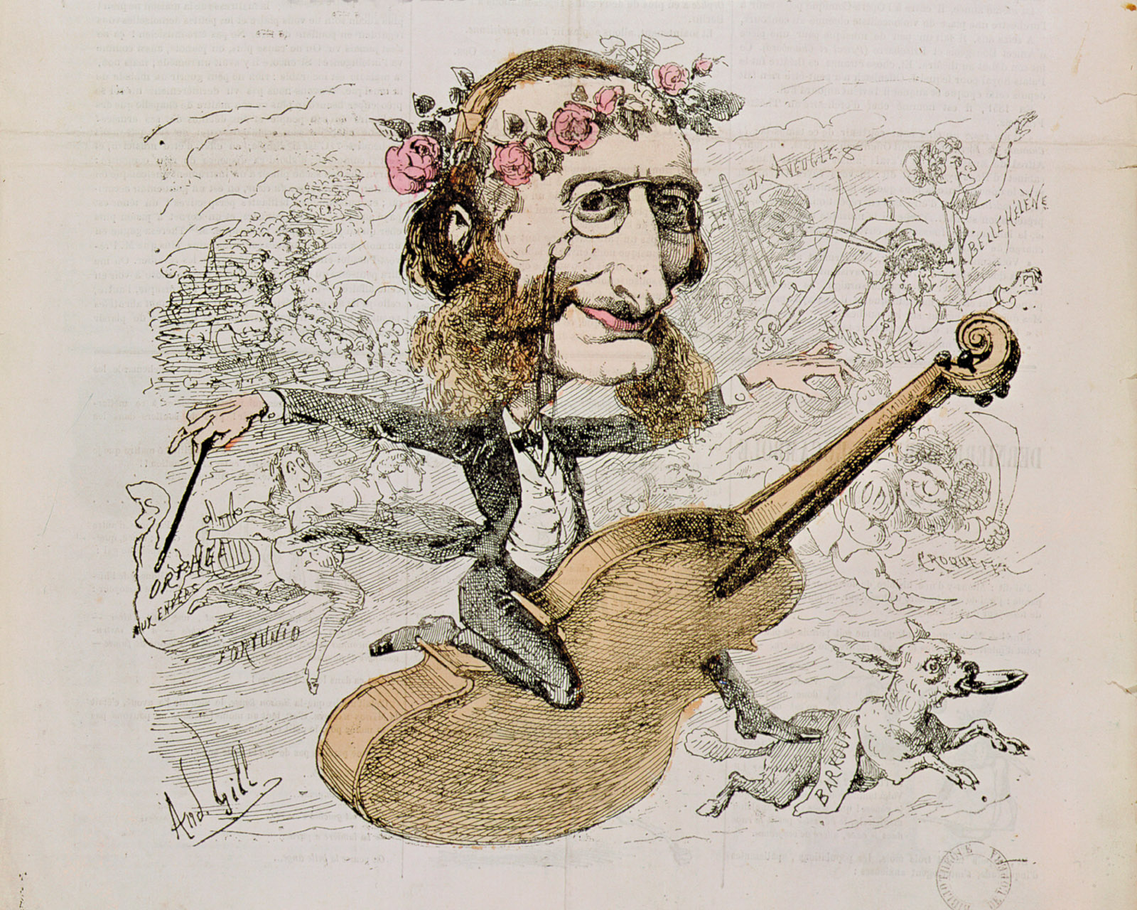 Jacques Offenbach; engraving by André Gill from the cover of <i></dt><dd class=